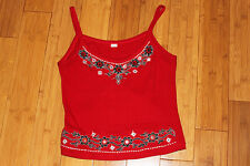 Bright red embellished tank top women's clothing cotton size S small embroidered