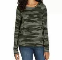 Buffalo David Bitton Women's Camo Print Sweatshirt, Green Sage , Size M