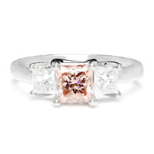 Certified Fancy Pink Diamond 3 Stone Engagement Ring 18kt White Gold 1.50ctw
