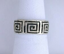Solid Sterling Silver Band Custom Casted Abstract Square Design Ring Sz 5.75