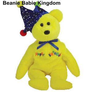 TY BEANIE BABY * HAPPY BIRTHDAY * THE BRIGHT YELLOW TEDDY BEAR WEARING A HAT