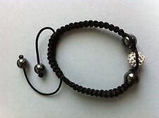 Bracelet shamballa strass disco cristaux hemattite argenté + pochette organza