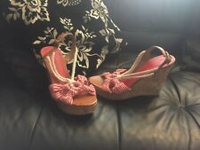 Womens M&S Red/White Wedged Shoes Size 6.5 New