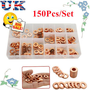 150pcs Copper Diesel Injector washer Seal Assortment Set New UK Stock