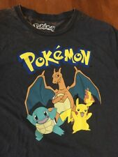 Men's Pokemon Pikachu Charmander Squirtle Bulbasaur Sz M Black T-Shirt