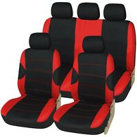 Racing Black with Red Panels Deluxe Luxury Full Car Set Seat Cover Protectors