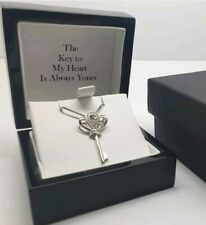 White gold finish crown key created diamond pendant necklace gift boxed freepost
