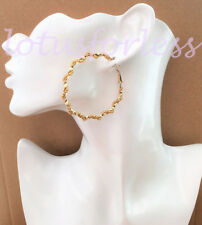 Gorgeous Twisted Faux Gold Bead Gold Tone Hoop Drop Earrings 4.5 cms *NEW*