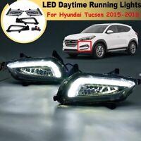 DRL Daytime Running Lights Fog Lamps For Hyundai Tucson 2015-2018 Full Kit