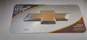 Chevy Gold/Chrome 3D Bow tie License plate genuine logo emblem For Car,Truck
