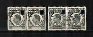 COLOMBIA Scott's C319-20 ( 4v ) Gaitan Surcharges F/VF Used Pairs ( 1959 )