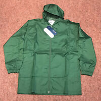Green Fila Retro Vintage Lightweight Hooded Festival Rain Mac Jacket Coat Poly