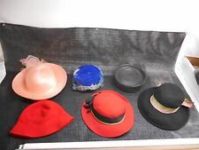 Lot 6 Old Vintage Women's HATS Blue Red Black Salmon ESTATE BUY Fashion