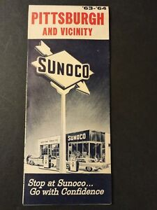 Sunoco 1963 - '64 Pittsburgh and Vicinity Gas Station Road Map
