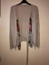 Ladies Basler Cardigan Size 14 Silk Floral Detail Beige