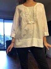 bcbg max azria White Shirt Blouse Pom Pom Casual Career Cotton Medium