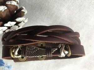 Men Leather Bracelet Braided Surfer Wristband Bangle Wrap