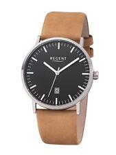 Regent Titanium Men's Watch F-1232 Analog Leather Light Brown