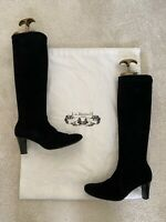 L.K Bennett UK Size 4 Black Suede Knee High Block Heel Boots Real Leather Shoes