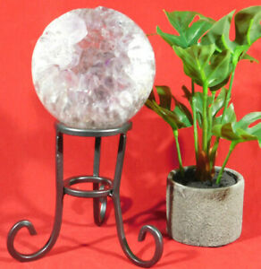 A Larger Very Sturdy! Dark Silver Colored Iron Sphere Stand or Globe Stand!