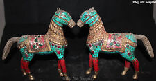 """9"""" Folk Chinese Palace Bronze Gild Turquoise & Red Coral Run Horse Statue Pair"""