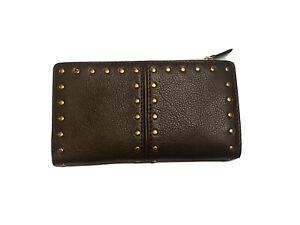 Michael Kors Center Zip Brown Leather Wallet With Rivets Studs Wristlet Bifold
