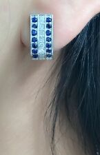 14k Solid White Gold Cute 3Rows Hoop Diamond Earrings, Natural Sapphire
