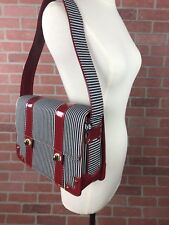 Hells Belles Sideshow Shoulder Bag Red Patent Leather Navy Off White Striped