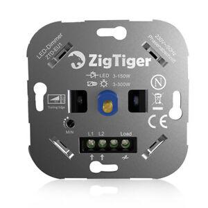 Zigtiger LED Dimmer Schalter Drehdimmer Dimmschalter Unterputz Phasenabschnitt