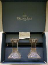 "Villeroy & Boch 1748 -Pisa- Crystal Candlestick Holders 4"" In Original Box"