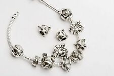 Mixed 20x Lots Tibet Silver FOX OWL DOG BIRD Big Hole Beads For Charms Bracelet