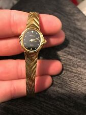 Beautiful Waltham Ladies Wristwatch Gold With Black Face