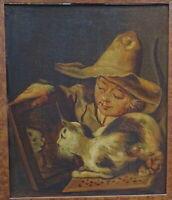 Barock Portrait Katze im Spiegel Junge Oel auf Holz Städt. Museum Aachen