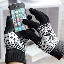Women Men Winter Warm Touch Screen Smart Touch Sensing Snowflake Cuff Gloves Bla