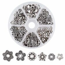 180pcs/Box Tibetan Alloy Flower Bead Caps Carved Tiny Cap Findings Silver 7~10mm