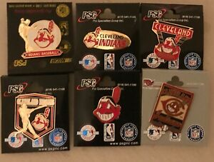Set of 6 Cleveland INDIANS CHIEF WAHOO Collector Pins BANNED LOGO Guardians