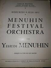 Programme Yehudi Menuhin festival orchestra salle Pleyel Juin 1971