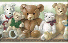 Teddy Bear Stuffed Animal Kid Nursery Children Green Wall paper Border