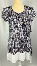 Karen Kane Tunic Blouse Shirt Top XS  Pullover Stretchy Asymmetric Blue New $79