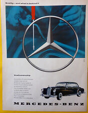 """Mercedes Benz 300 w189 """"Quality and what is behind"""" it Advertising 1961"""