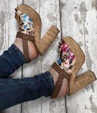 Beige platform heels Size 5 Dolcis Floral Cork Effect Sling Back Peep Toe Sandal