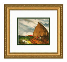 "Framed MAURICE VLAMINCK 1958 Color Lithograph ""Haystacks"" Limited Edition COA"