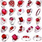 20 Styles Fashion Women Topaz Jewelry Garnet Gemstone Silver Ring Gift Size 6-13