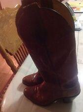 WOMENs Vintage Retro JUSTIN EEL SKIN COWBOY COWGIRL BOOTS size 5 C Tobacco Sienn