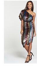 Rainbow Sequin 80's disco One Shoulder Asymmetric Fancy Dress 14 Christmas