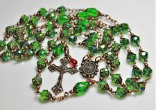 "Antique Copper Emerald Green AB Czech Faceted Crystal 28 3/4"" Rosary,Rosario MAY"