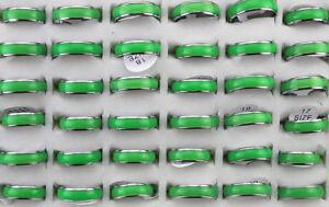 Fashion Lots 30pcs Stainless steel Green Enamel Unisex Popular Rings Jewelry