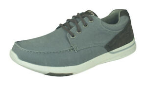 Skechers Elent Arven Mens Relaxed Fit Canvas Shoes Comfortable - Charcoal Grey
