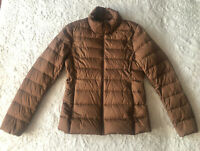 UNIQLO tan beige light weight short stand collar quilted down puffer jacket XS