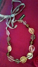 NWT - Kenilworth Silk Ribbon Multi Color Beads Necklace Adjustable Size